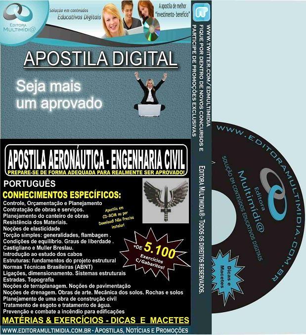 Apostila AERONÁUTICA - ENGENHARIA CIVIL - Teoria + 5.100 Exercícios - Concurso 2017