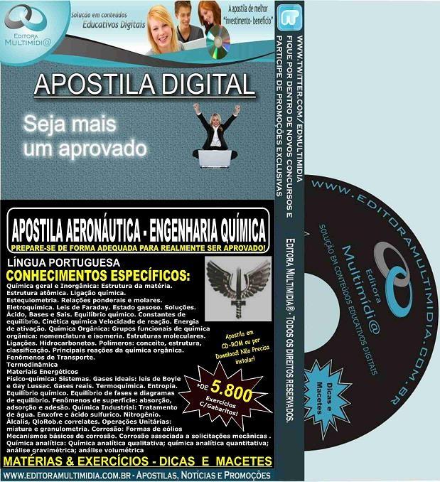 Apostila AERONÁUTICA - ENGENHARIA QUÍMICA - Teoria + 5.800 Exercícios - Concurso 2017