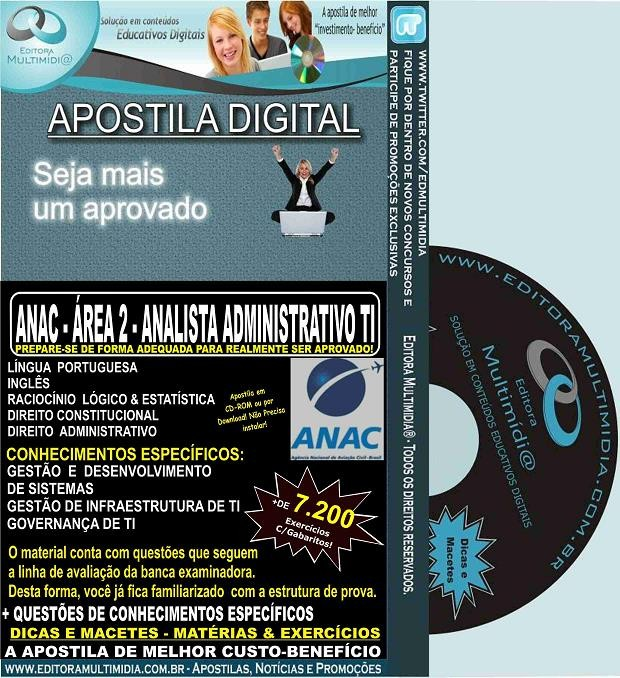 Apostila ANAC - ANALISTA ADMINISTRATIVO - ÁREA 2 - TI - Teoria + 7.200 Exercícios - Concurso 2016