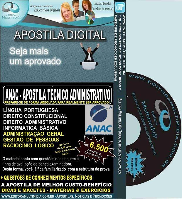 Apostila ANAC - Técnico ADMINISTRATIVO - Teoria + 6.500 Exercícios - Concurso 2016