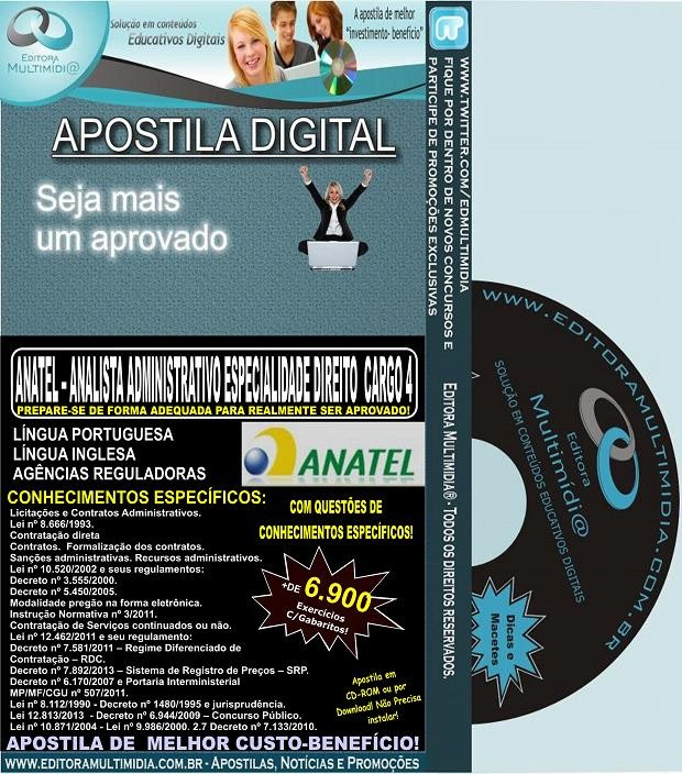 Apostila ANATEL - Analista Administrativo Especialidade DIREITO -  CARGO 4 - Teoria + 6.900 Exercícios - Concurso 2014
