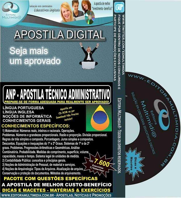 Apostila ANP - TÉCNICO ADMINISTRATIVO - Teoria + 7.600 Exercícios - Concurso 2015