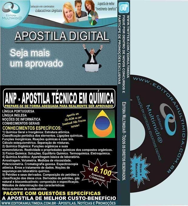 Apostila ANP - TÉCNICO em QUÍMICA - Teoria + 6.100 Exercícios - Concurso 2015