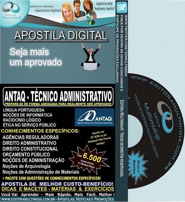 Apostila ANTAQ - Técnico ADMINISTRATIVO - Teoria + 6.500 Exercícios - Concurso 2014
