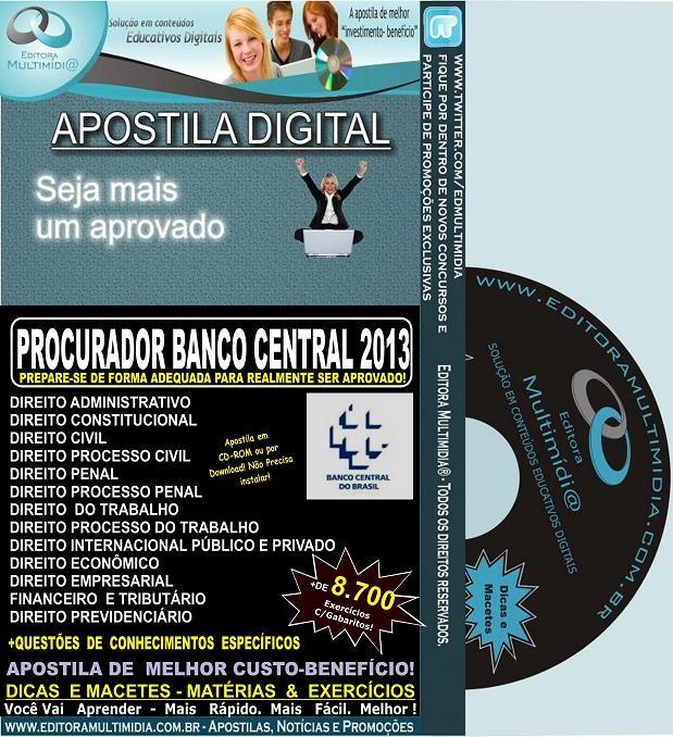 Apostila BACEN  - PROCURADOR BANCO CENTRAL - Teoria + 8.700 Exercícios - Preparatória Concurso 2017