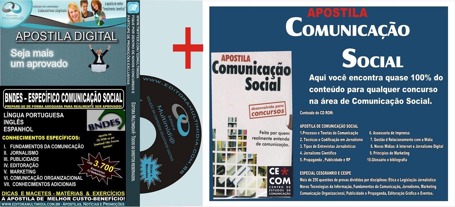 PROMOÇÃO! Apostila BNDES - Específica COMUNICAÇÃO SOCIAL + Apostila Comunicação Social para Concursos - 2016
