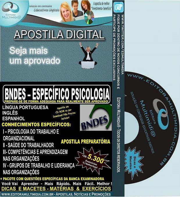 Apostila BNDES - Profissional Básico - PSICOLOGIA - Teoria + 5.900 Exercícios -  2016