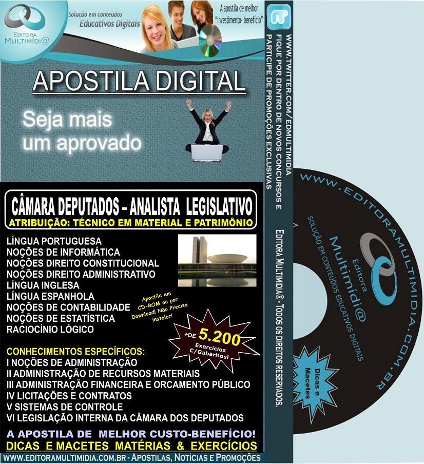 Apostila CÂMARA DOS DEPUTADOS - Analista Legislativo - Téc. em Material e Patrimônio - Teoria + 5.200 Exercícios - Concurso 2012