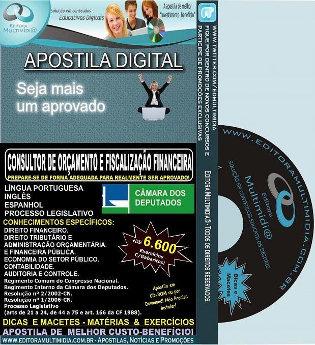 Apostila Câmara dos Deputados - CONSULTOR de ORÇAMENTO e FISCALIZAÇÃO FINANCEIRA - Teoria + 6.600 Exercícios - Concurso 2014