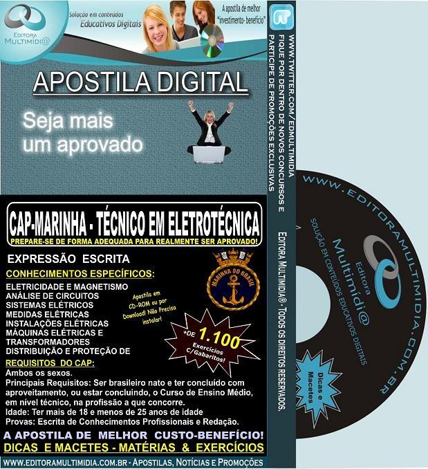 Apostila CAP - MARINHA - Técnico em ELETROTÉCNICA - Teoria + 1.100 Exercícios