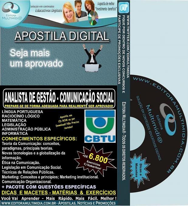 Apostila CBTU - Analista de Gestão - COMUNICAÇÃO SOCIAL - Teoria + 6.800 Exercícios - Concurso 2014