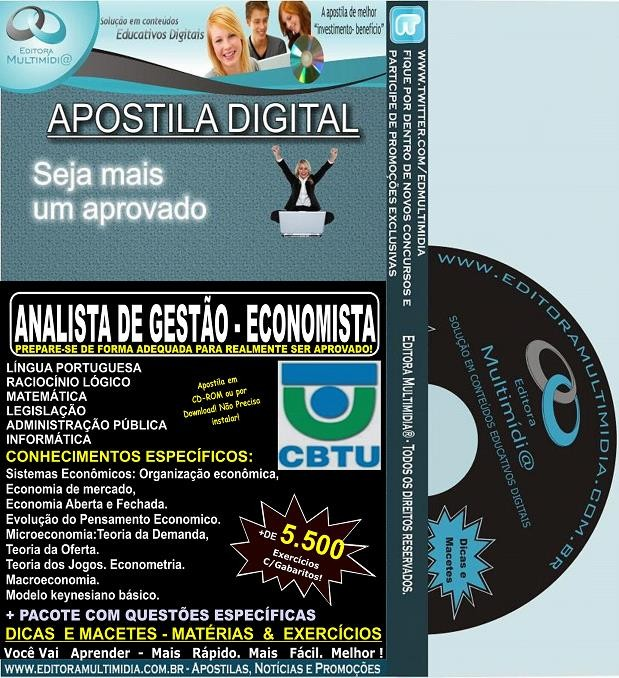 Apostila CBTU - Analista de Gestão - ECONOMISTA - Teoria + 5.500 Exercícios - Concurso 2014