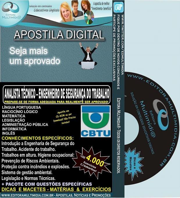 Apostila CBTU - Analista Técnico - ENGENHEIRO de SEGURANÇA do TRABALHO - Teoria + 4.000 Exercícios - Concurso 2014