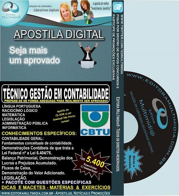 Apostila CBTU -  Técnico de GESTÃO CONTABILIDADE - Teoria + 5.400 Exercícios - Concurso 2014
