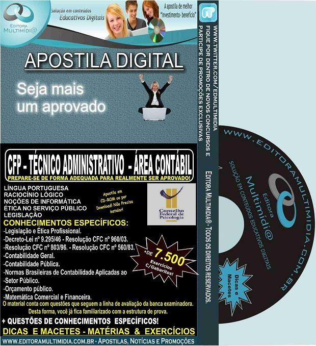 Apostila CFP - Técnico Administrativo - Área CONTÁBIL - Teoria + 7.500 Exercícios - Concurso 2015
