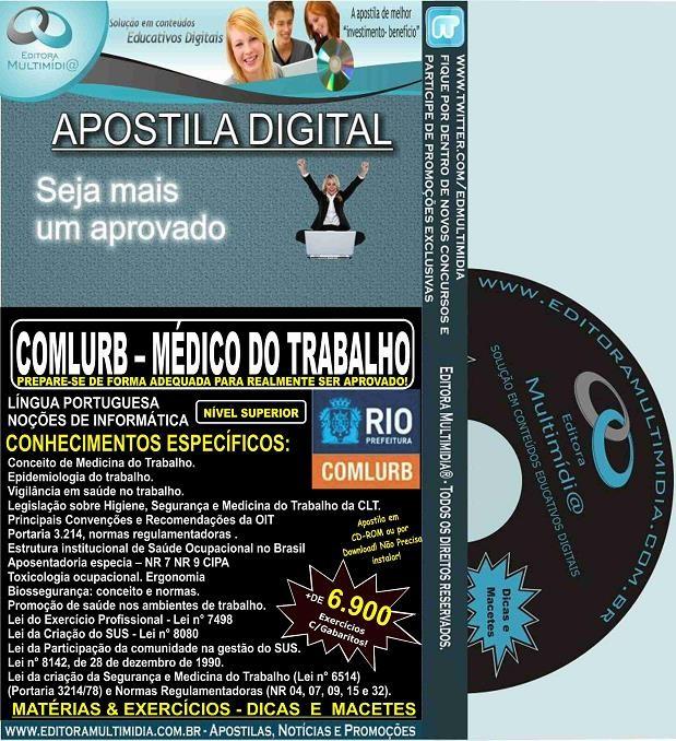 Apostila COMLURB - MÉDICO do TRABALHO - Teoria + 6.900 Exercícios
