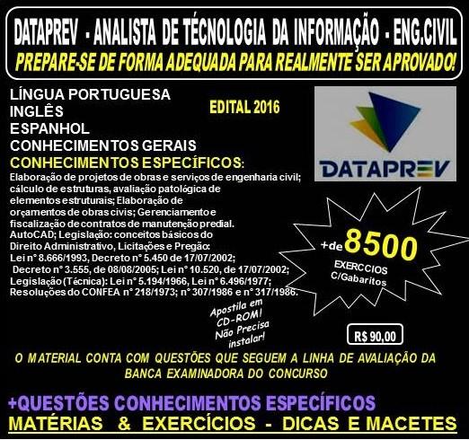Apostila DATAPREV - ANALISTA de TECNOLOGIA da INFORMAÇÃO - ENGENHARIA CIVIL - Teoria + 8.500 Exercícios - Concurso 2016