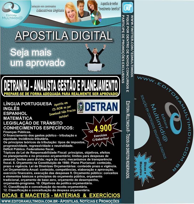 Apostila DETRAN RJ - Analista Gestão e Planejamento - Teoria + 4.900 Exercícios - Concurso 2012