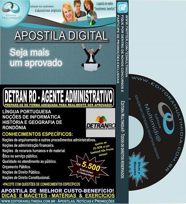 Apostila DETRAN RO - AGENTE ADMINISTRATIVO - Teoria + 5.300 Exercícios - Concurso 2014