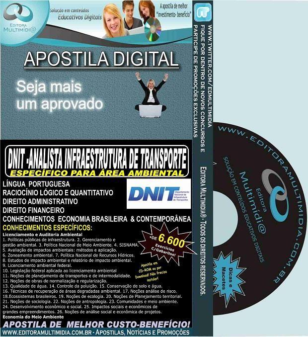 Apostila  DNIT - ANALISTA Infraestrutura de Transporte - área AMBIENTAL - Teoria + 6.200 Exercícios - Concurso 2015