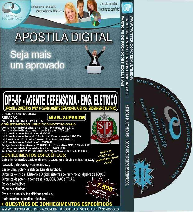 Apostila DPE SP - AGENTE DEFENSORIA - ENGENHEIRO ELÉTRICO - Teoria + 7.500 Exercícios - Concurso 2015