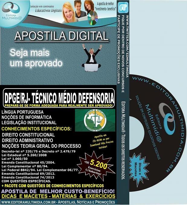 Apostila DPGE RJ - Técnico MÉDIO DEFENSORIA - Teoria + 5.200 Exercícios - Concurso 2014