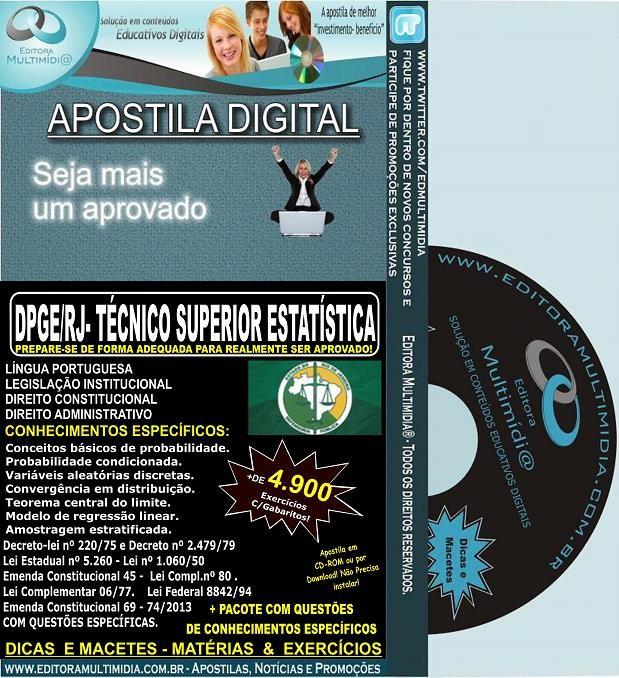 Apostila DPGE RJ - Técnico SUPERIOR ESTATÍSTICA - Teoria + 4.900 Exercícios - Concurso 2014