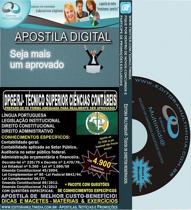 Apostila DPGE RJ - Técnico SUPERIOR CIÊNCIAS CONTÁBEIS - Teoria + 4.900 Exercícios - Concurso 2014