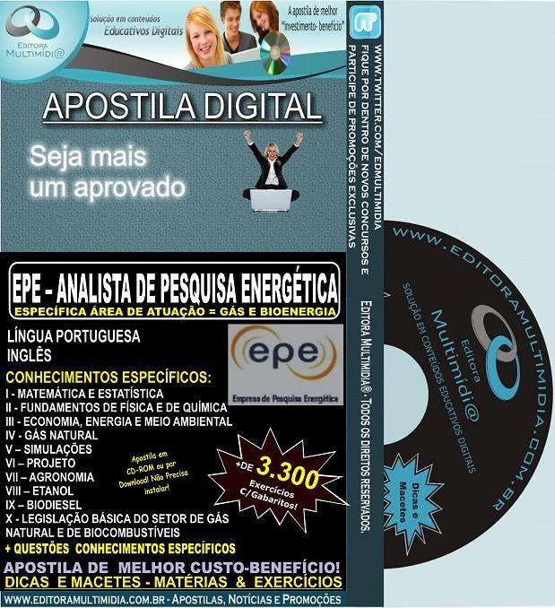 Apostila EPE - Analista de Pesquisa Energética - GÁS e BIOENERGIA - Teoria + 6.500 Exercícios - Concurso 2014