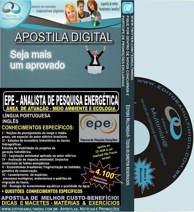 Apostila EPE - Analista de Pesquisa Energética - MEIO AMBIENTE e ECOLOGIA - Teoria + 4.100 Exercícios - Concurso 2014
