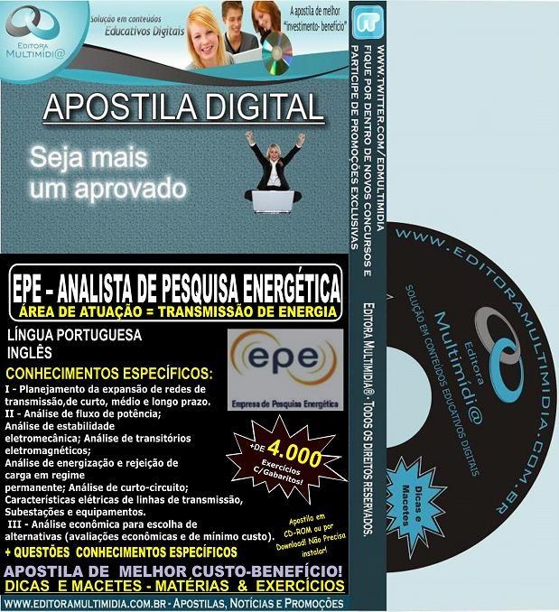 Apostila EPE - Analista de Pesquisa Energética - TRANSMISSÃO de ENERGIA - Teoria + 4.000 Exercícios - Concurso 2014