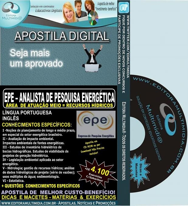 Apostila EPE - Analista de Pesquisa Energética - RECURSOS HÍDRICOS - Teoria + 4.100 Exercícios - Concurso 2014