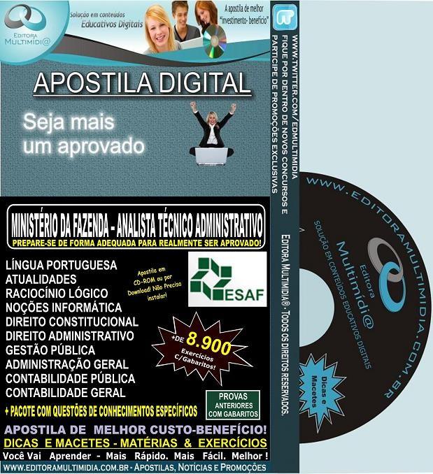 Apostila Min.Fazenda - Analista TÉCNICO ADMINISTRATIVO - Teoria + 8.900 Exercícios - Concurso 2013