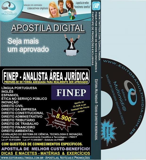 Apostila FINEP - ANALISTA Área JURÍDICA - Teoria + 8.900 Exercícios - Concurso 2013