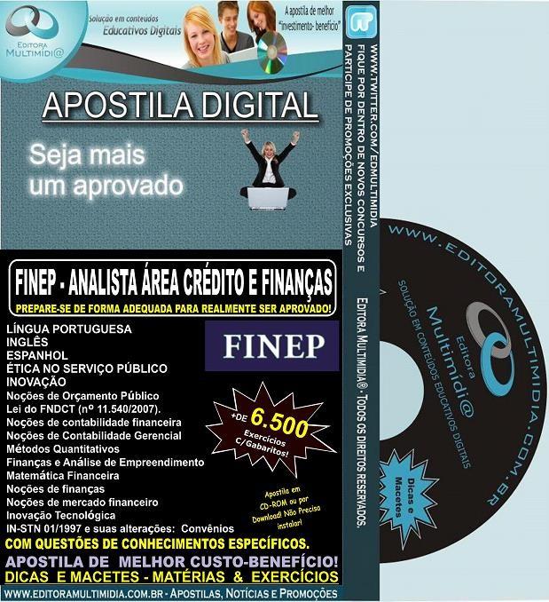 Apostila FINEP - ANALISTA Área CRÉDITO e FINANÇAS - Teoria + 6.500 Exercícios - Concurso 2013