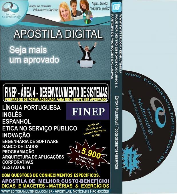 Apostila FINEP -  Área 4 -  DESENVOLVIMENTO DE SISTEMAS  - Teoria + 5.900 Exercícios - Concurso 2013