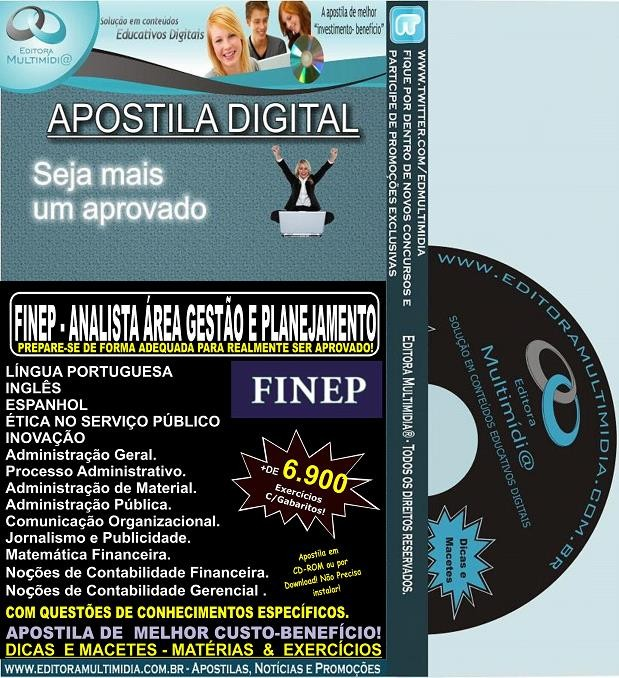 Apostila FINEP - ANALISTA Área GESTÃO e PLANEJAMENTO - Teoria + 6.900 Exercícios - Concurso 2013