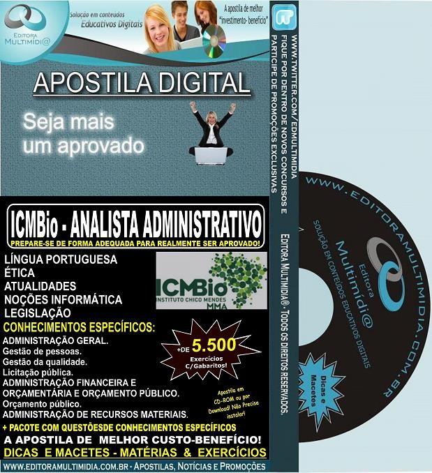 Apostila ICMBio - ANALISTA ADMINISTRATIVO  - Teoria + 5.500 Exercícios - Concurso 2014