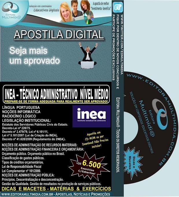 Apostila INEA - NÍVEL MÉDIO - Técnico ADMINISTRATIVO - Teoria + 6.500 Exercícios - Concurso 2013