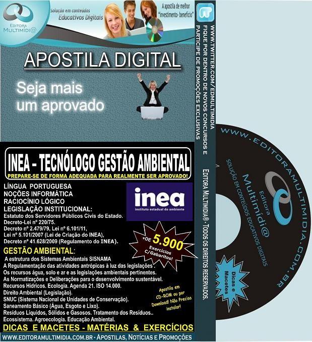 Apostila INEA - TECNÓLOGO GESTÃO AMBIENTAL - Teoria + 5.900 Exercícios - Concurso 2013