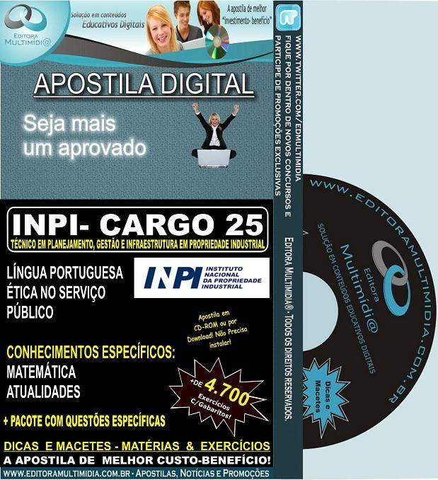 Apostila  INPI - CARGO 25 - TÉCNICO em Planejamento, Gestão e Infraestrutura em Propriedade Industrial - Teoria + 4.700 Exercícios