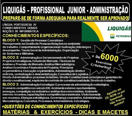 Apostila LIQUIGÁS DISTRIBUIDORA - PROFISSIONAL junior de ADMINISTRAÇÃO - Teoria + 6.000 Exercícios - Concurso 2018
