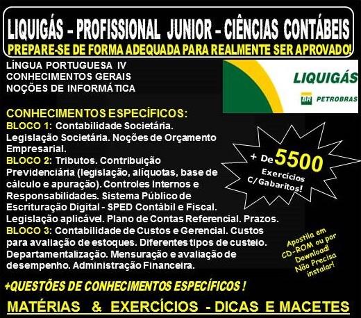 Apostila LIQUIGÁS DISTRIBUIDORA - PROFISSIONAL Jr. - CIÊNCIAS CONTÁBEIS - Teoria + 5.500 Exercícios  - Concurso 2018