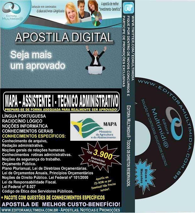 Apostila MAPA - ASSISTENTE I - TÉCNICO ADMINISTRATIVO - Teoria + 3.900 Exercícios - Concurso 2015