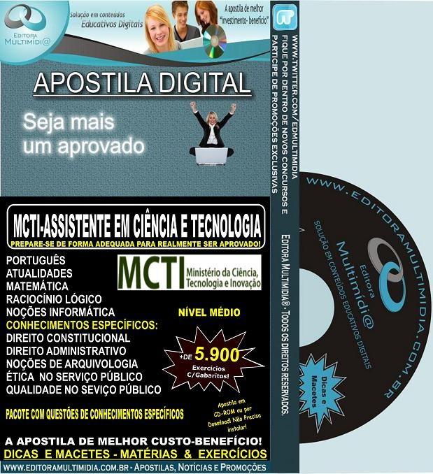 Apostila MCTI - Assistente em Ciência e Tecnologia - Teoria + 5.900 Exercícios - Concurso 2012