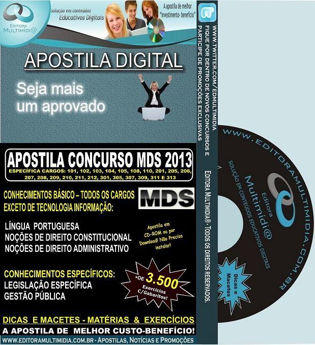 Apostila MDS III - Ministério do Desenvolvimento Social - Teoria + 3.500 Exercícios - Concurso 2013