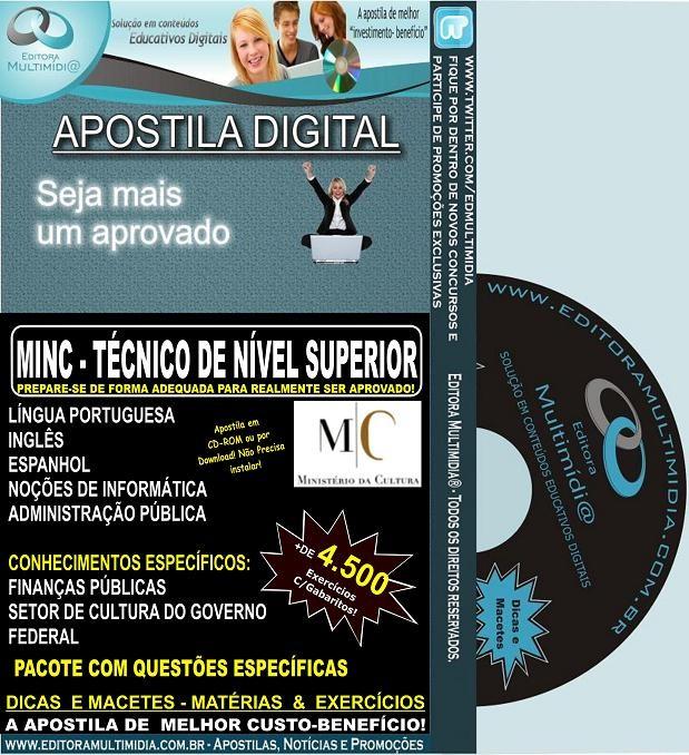 Apostila  MINC - Técnico de NÍVEL SUPERIOR - Teoria + 4.500 Exercícios - Edital 2013