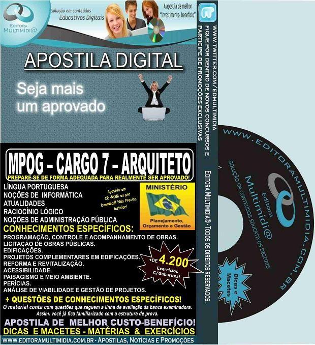 Apostila MPOG - CARGO 7 - ARQUITETO - Teoria + 4.600 Exercícios - Concurso 2015