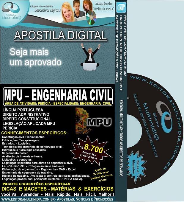 Apostila MPU - ENGENHARIA CIVIL - Teoria + 8.700 Exercícios - Concurso 2013