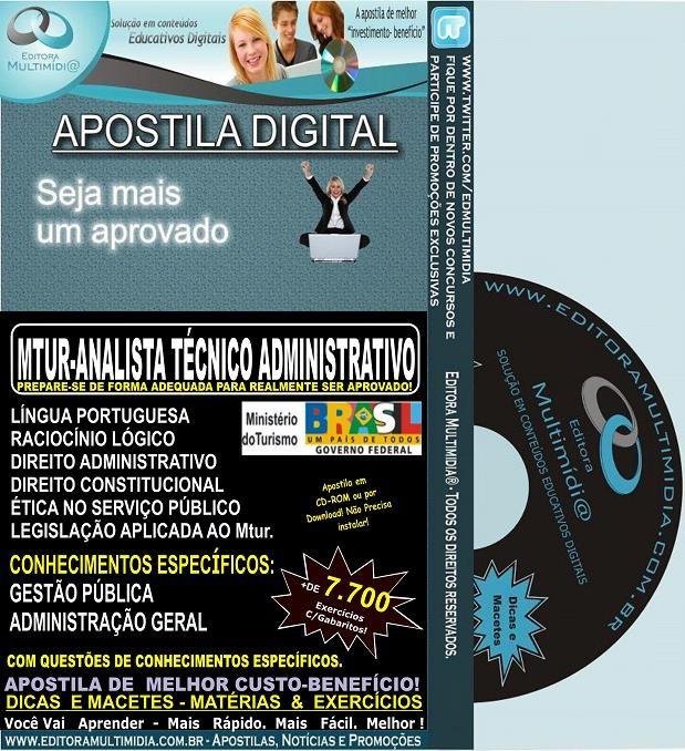 Apostila MTUR - ANALISTA TÉCNICO ADMINISTRATIVO - Teoria + 7.700 Exercícios - Concurso 2013-14